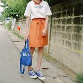 純色長裙-簡約百搭鬆緊腰繫帶女裙子2色73rw27【巴黎精品】