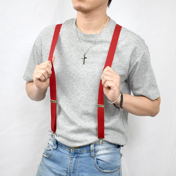 吊帶 簡單風格素款紅色窄版NKD20