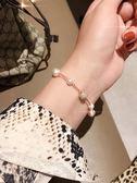 新款時尚水晶珍珠隱形磁扣手鏈氣質水晶玫瑰金手飾女日系簡約百搭