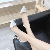 618全館8.8折 高跟鞋細跟夏季涼鞋早春百搭透明性感尖頭單鞋女黑色淺口