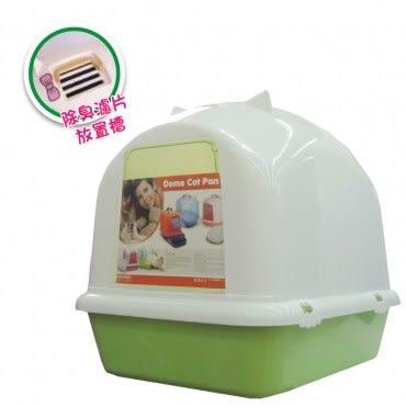 貓臉造型單層貓砂盆-綠色-不透明款(H562A01-4)