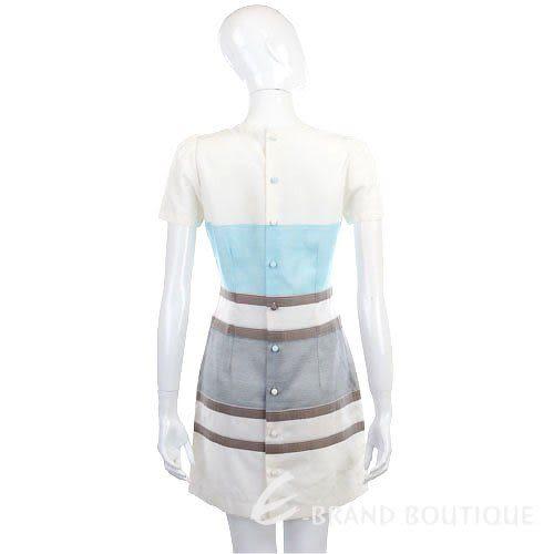 Kristina Ti 白/藍色條紋造型短袖洋裝 0920031-23