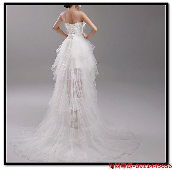 (45 Design) 訂做款式7天到貨 奢華蕾絲抹胸前短後長拖尾公主新娘婚紗禮服