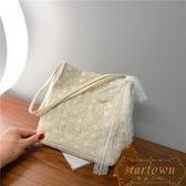 包包韓版草編蕾絲單肩包手提包大容量水桶購物袋【繁星小鎮】