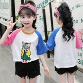 2020夏裝女童短袖t恤韓版洋氣中大童純棉上衣貓咪刺繡花兒童半袖 TR1440『俏美人大尺碼』
