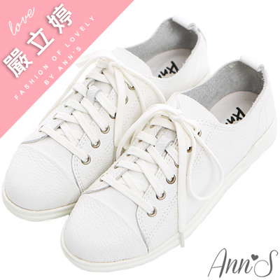 Ann'S第一代休閒舒適全真牛皮超軟綁帶小白鞋-白