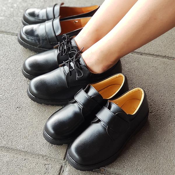 皮鞋.台灣製MIT.魔鬼氈真皮學生皮鞋.黑色【鞋鞋俱樂部】【261-103】