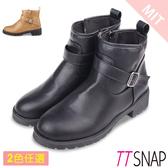 短靴-TTSNAP 完美俐落側拉鍊中跟踝靴 黑/杏