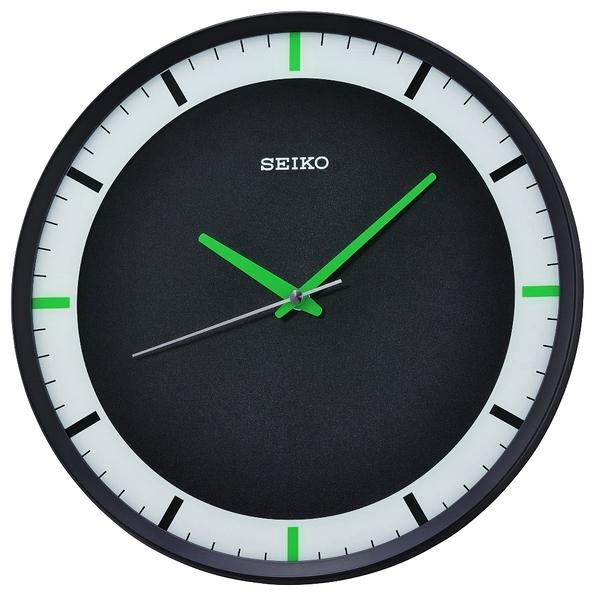 附發票 30.7公分【時間光廊】SEIKO 日本精工 滑動式秒針 靜音 掛鐘(QXA769K)黑