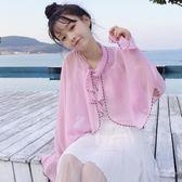 年終鉅惠夏裝女裝韓版荷葉邊系帶披肩防曬雪紡衫百搭襯衣學生 森活雜貨