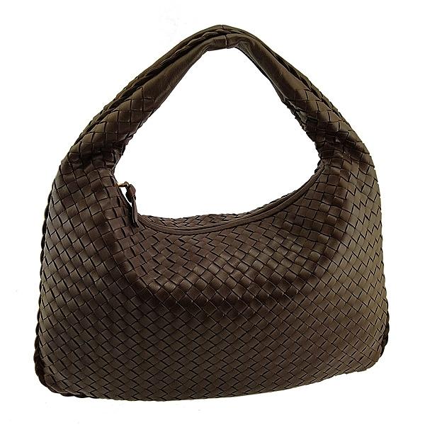 【奢華時尚】BOTTEGA VENETA 咖啡色編織皮革手提肩背兩用大和尚包(九五成新)#25069