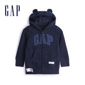 Gap男嬰 Logo棉質舒適熊耳造型連帽外套 567696-海軍藍色