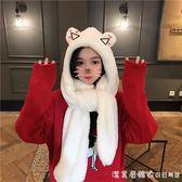 2018新款秋冬季韓版學院風可愛加厚保暖小熊耳朵羊羔絨圍巾帽子女 漾美眉韓衣