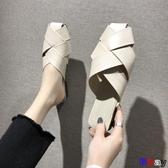 Bay 穆勒鞋 外穿 方頭 平底拖鞋 奶奶鞋 單鞋 包頭 半拖 穆勒鞋 涼拖