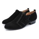 全真皮牛巴戈車線拉鍊短靴-黑色‧karine(MIT台灣製)