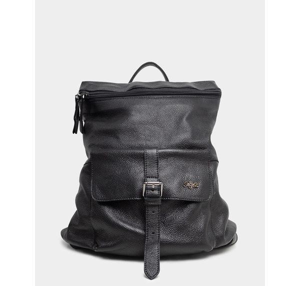 真皮包包(後背包)-R&BB手工牛皮製*個性歐美簡約可手提隨性雙向拉鍊實用背包/旅行後背包-黑色