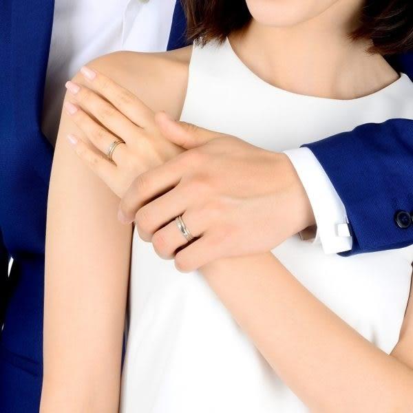 點睛品Promessa系列 鉑金綴18K玫瑰金婚戒對戒(女戒)