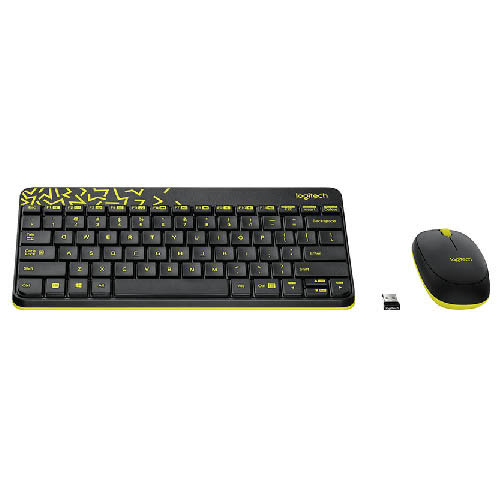 羅技 Logitech MK240 Nano 無線鍵鼠組 - 黑色/黃邊