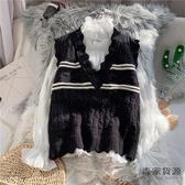 針織馬甲女秋裝韓版寬松背心花邊V領無袖毛衣外穿上衣【毒家貨源】