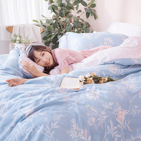 床包被套組 / 雙人【綠葉扶花】含兩件枕套  60支天絲  戀家小舖台灣製AAU212
