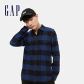 Gap男裝 法蘭絨撞色格紋長袖襯衫 619445-藍色格子