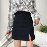 A字裙 黑色高腰顯瘦開叉短裙特大碼夏裝新款胖MM半身裙女西裝料 BP617【Sweet家居】