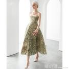 2021春夏設計新款綠野仙蹤抹胸印花吊帶大擺小禮服A字顯瘦洋裝 喵小姐