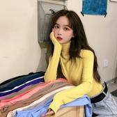 打底衫初秋2019新款韓版網紅薄款長袖T恤女修身半高領純色打底衫上衣潮
