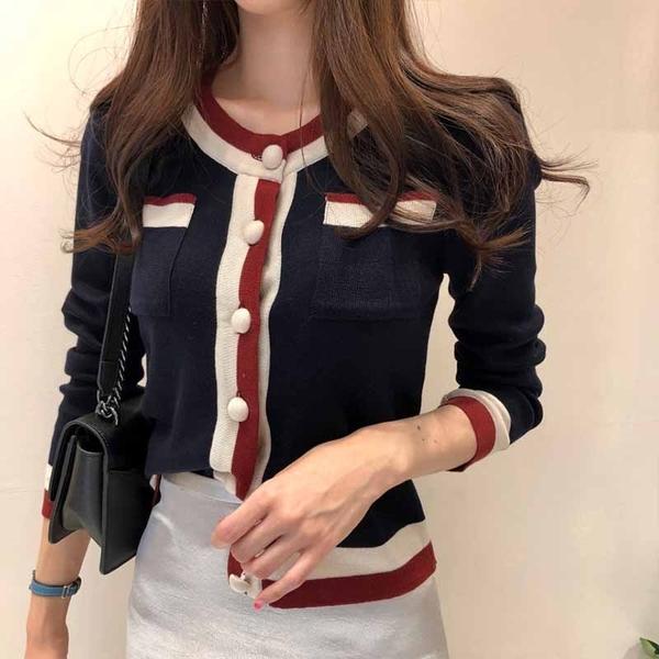 VK精品服飾 韓國小香風撞色針織衫修身毛衣長袖上衣