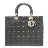 Dior 迪奧 黑色藤格紋羊皮Cannage縫線手提包 Lady Dior 98-MA-1025 【BRAND OFF】