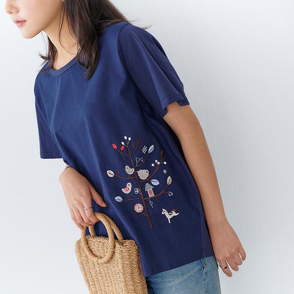 【慢。生活】喜上樹梢刺繡拼接棉質上衣 9870 FREE深藍色