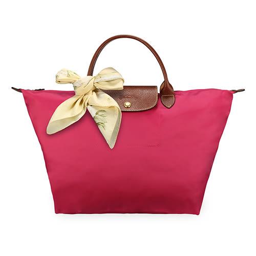 LONGCHAMP 短提把中型尼龍摺疊水餃包(玫瑰紅-含帕巾)480101-c88