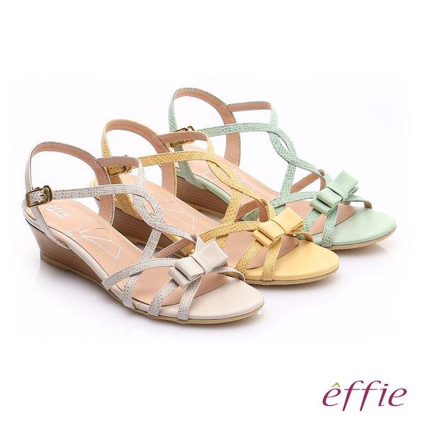 effie  個性涼夏 真皮線條蝴蝶結飾楔型涼鞋  淺黃