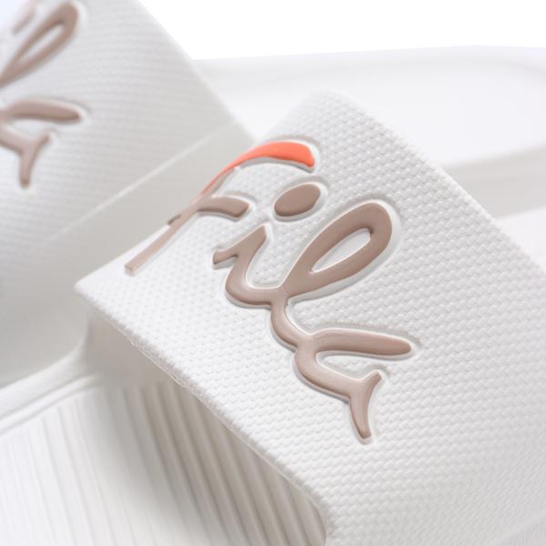 FILA (偏小建議大半號) 米白 咖啡橘 草鞋LOGO 橡膠 拖鞋 男女(布魯克林) 4S326U117