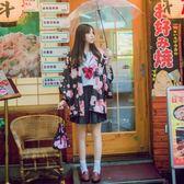 櫻花貓日系軟萌妹子改良和服開衫浴衣日式和風羽織防曬衣短外套女