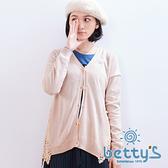 betty's貝蒂思 蕾絲拼接毛料針織衫(粉膚色)