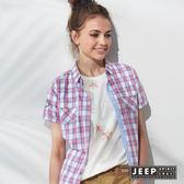 【JEEP】女裝 美式休閒時尚撞色格紋短袖襯衫 (紅色)
