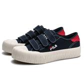 FILA 餅乾鞋 深藍 紅 黏帶 魔鬼氈 基本款 刺繡 休閒鞋 情侶鞋 男女 (布魯克林) 4C319T331