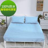 【eyah】台灣製專業護理級完全防水雙面枕頭套2入組 8色任選海洋藍