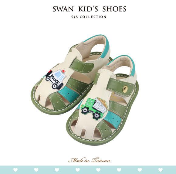 Swan天鵝童鞋-可愛不對稱汽車寶寶涼鞋1540-綠