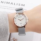 韓版簡約森女系復古小錶盤女中學生帆布手錶