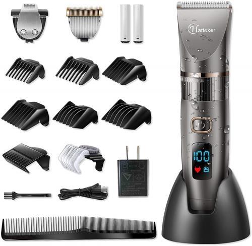 【日本代購】HATTEKER電動理髮器 髮無線可充電可水洗LED理髮器 鬍鬚修剪器