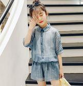 全館83折女童夏裝2019新款中大童短袖兒童時髦套裝女孩夏季三件套童裝潮衣