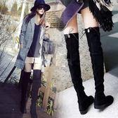 過膝長靴女 冬季新款長筒靴子彈力靴小辣椒加絨保暖平底瘦瘦靴
