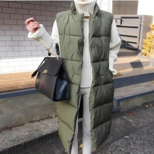 免運★梨卡 - 韓國空運秋冬加厚鋪棉仿羽絨長版背心外套A410