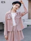 慕兔港味復古早秋外套女2019新款韓版寬鬆短款夾克上衣潮ins百搭