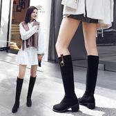 長靴 中跟彈力靴顯瘦單靴黑色高筒靴羊猄絨騎士靴