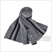 GUCCI經典GG緹花LOGO條紋設計羊毛圍巾(深灰)