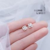 耳環925純銀耳釘女2020年新款潮四葉草養耳洞耳環氣質簡約小巧耳飾品 JUST M