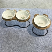 高腳貓碗寵物雙碗貓咪食盆碟陶瓷水碗帶碗架傾斜斜口狗碗-Ifashion